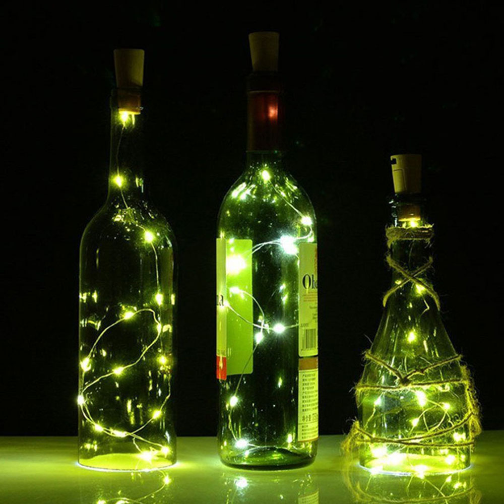1M 10Leds Solar Wine Bottle Cork LED Copper String Fairy Lights Christmas Valentines Wedding Party House Pub Decor String Light