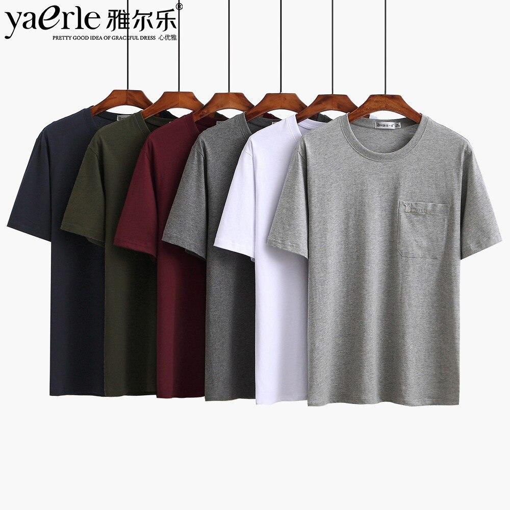 Pocket T-shirts Men Quality Cotton T-shirts Summer Male Tees Casual T-shirt O-neck Short Sleeve XXXL Tshirt Mid Aged Mens Tmall