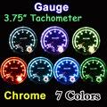 """95mm 3.75 Inch Tachometer Chrome for 7 LED Colors Adjustable 12V Car Gauge 3 3/4"""" Meter 0-8000 RPM TAC Shift-Light FREE SHIPPING"""