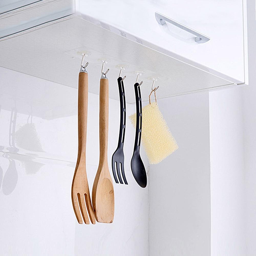 EVERSO 2pcs Bathroom Shelf Kitchen Organizer Hanger Adhesive Hook Stick On Wall shelf Hanging Door Clothes Towel Holder Racks