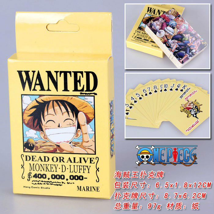 Anime Poker ONE PIECE Wanted Collection spelkort gratis frakt PK004C
