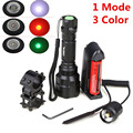 Single file Mode Tactical Flashlight CREE T6 led torch + battery + Charger + Pressure Switch Mount Hunting Rifle Gun Light Lamp