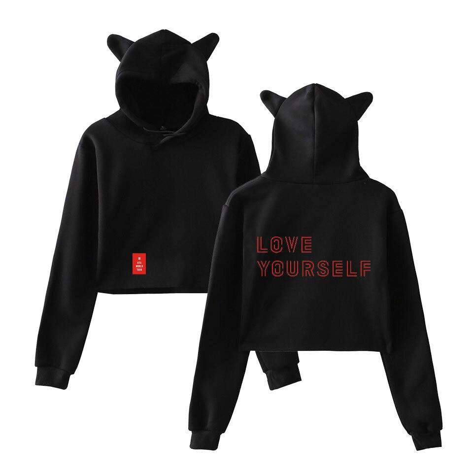 BTS Crop Top Hoodies Ove Yourself Tear Fake Love Kpop Cropped Hoodies Sweatshirt Women Cat Hooded Pullover Crop Tops Clothes Top