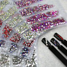 Multi-größe Glas Nagel Strass Für Nägel Kunst Dekorationen Kristalle Strass Charms Partition Gemischt Größe Strass Set(China)