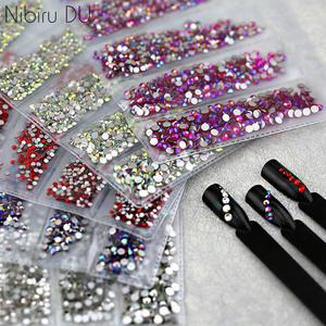 Multi-size Glass Nail Rhinestones For Nails Art Decorations Crystals Strass Charms Partition Mixed Size Rhinestone Set(China)