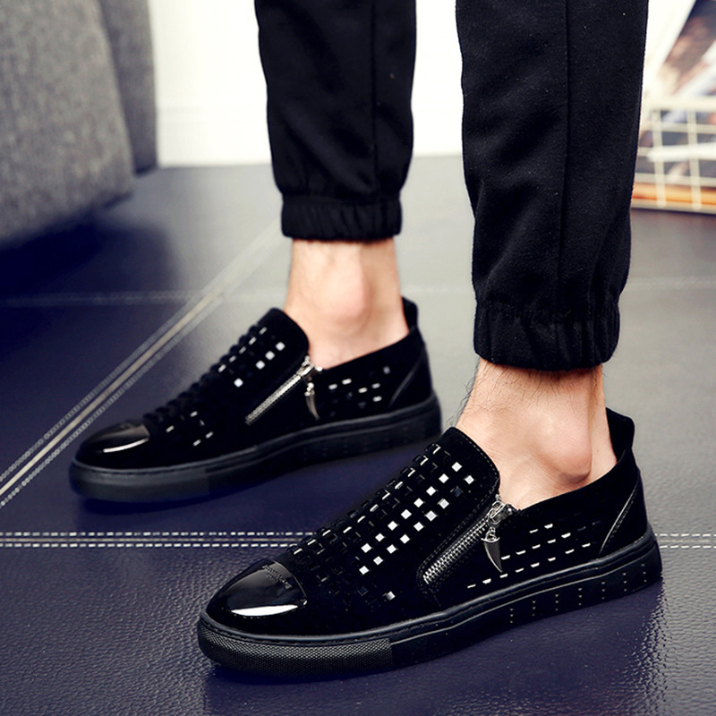 Fashion Men Black zipper Rhinestones Genuine   Leather   Brand Low Red Bottom Casual Shoes Men Flats Loubuten Shoes Size 38-43