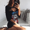 2017 New Fashion Women summer sexy pink high quality skull print hole v-neck short Sleeve pin Mini tshirts dresses Vestido Curto