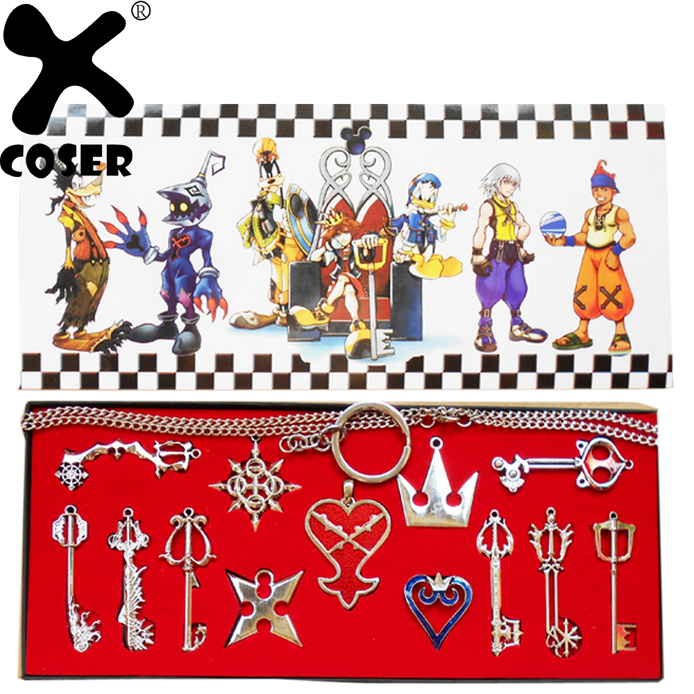 XCOSER Kingdom Hearts Metal Keyblade Sword Weapon Set Anime Cosplay Costume Accessories Props For 2019 Halloween Festival Party