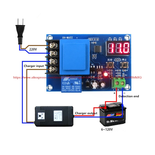 NEW XH-M602 digital control battery lithium battery charging control module Battery charge control switch Protection board(China)