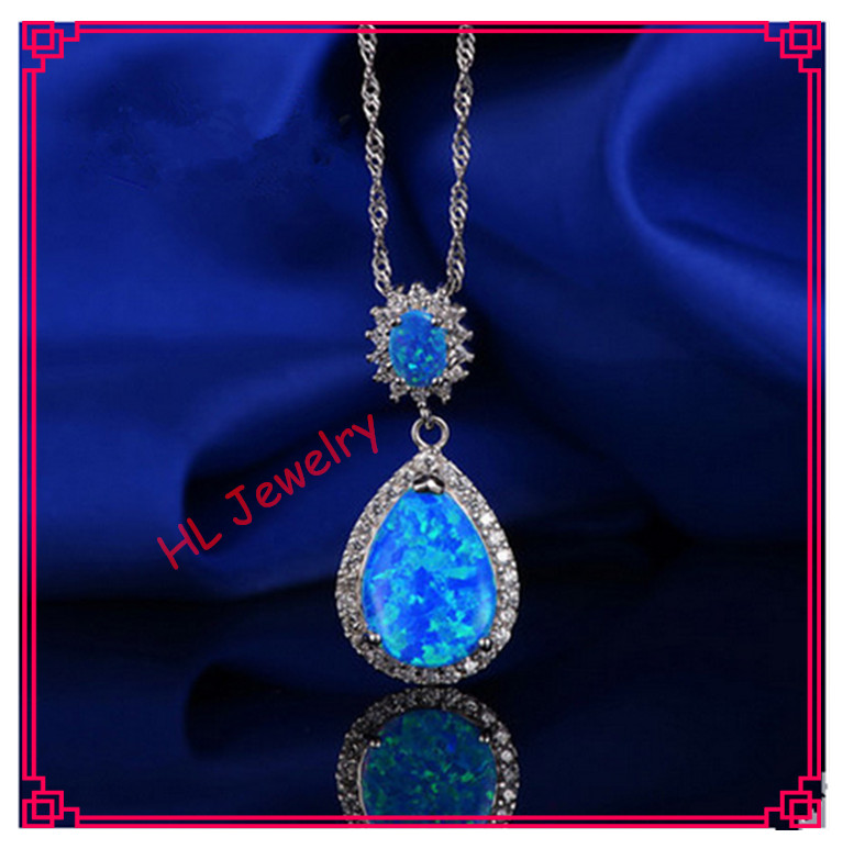 Lovely petite 16x40MM  blue opal Tears of angel Jewelry pendant 925 sterling silver necklaces For Women