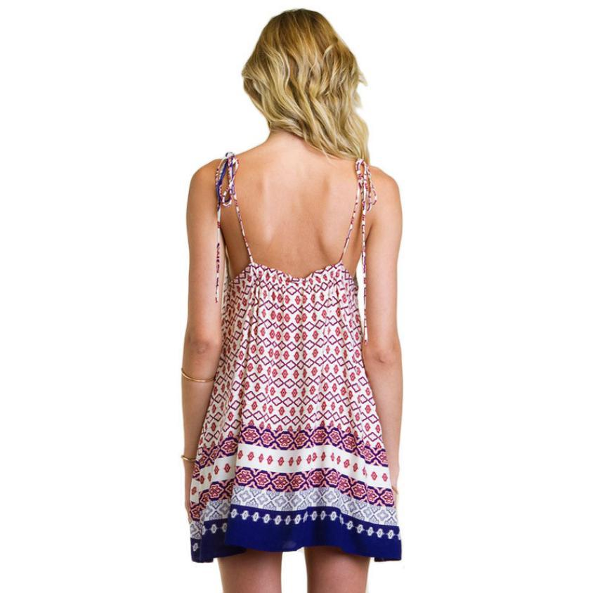 b9c7ad4386f5 Fashion Women Boho Dress Summer loose Printed Halter Style Sleeveless  Hippie Mini Dress Plus Size Women Clothing Vestidos Beige