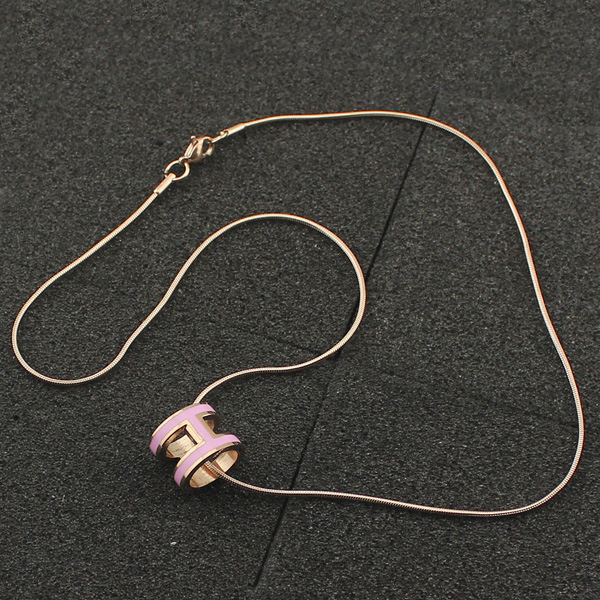 high quality 316 stainless steel h letter pendant necklace for women (6)