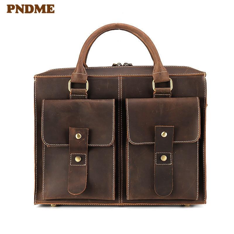 PNDME High Quality Men's Genuine Leather Briefcase Retro Simple Laptop Bag Casual Business Diagonal Bag Office Cowhide Handbag