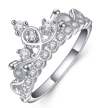 Women Fashion Jewelry Wedding Party Silver Color Shiny Rhinestone Crown Finger Ring