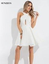 Wunderschöne Homecoming Kleider Einfache Halb Formale Kleider Kurze und Weiß Cocktail Kleid Graduation Kleider für High-School S415