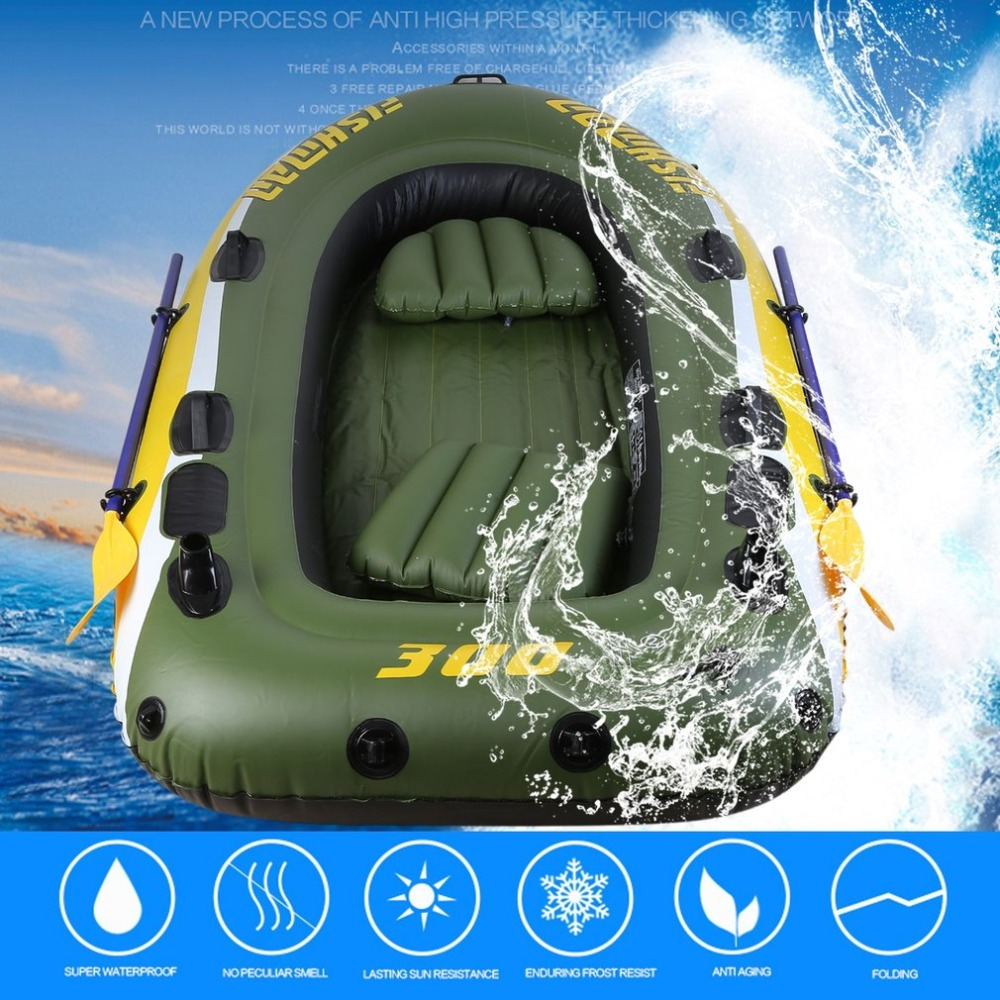 2 3 Person Rubber Boat Kit PVC Inflatable Fishing Drifting Rescue Raft Boat Life Jacket Two Way Electric Pump Air Pump Paddles