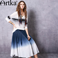 Artka Women's Summer New Dip Dyed All-match Skirt Vinatge Elastic Waist Gradients Color Wide Hem Skirt With Sashes QA10546X