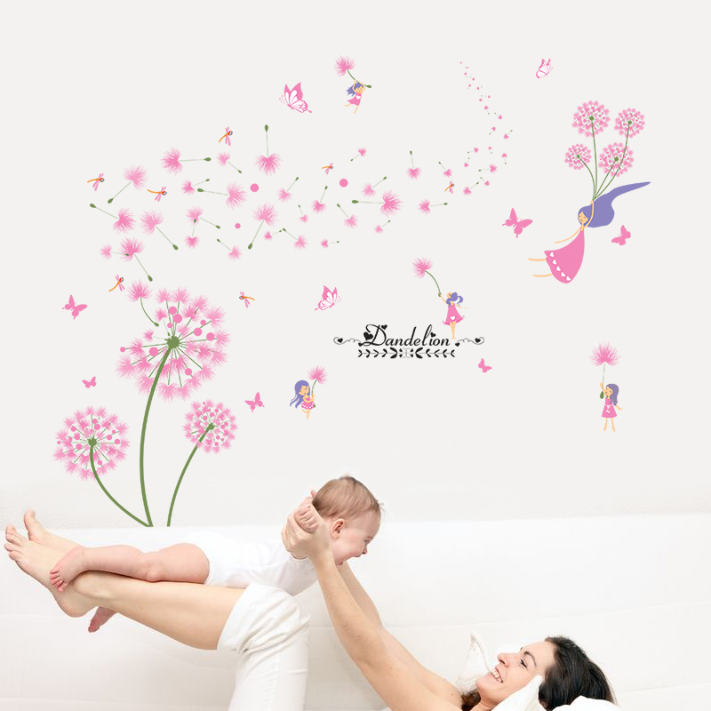 [SHIJUEHEZI] Pink Dandelion Wall Stickers para la sala de estar de - Decoración del hogar