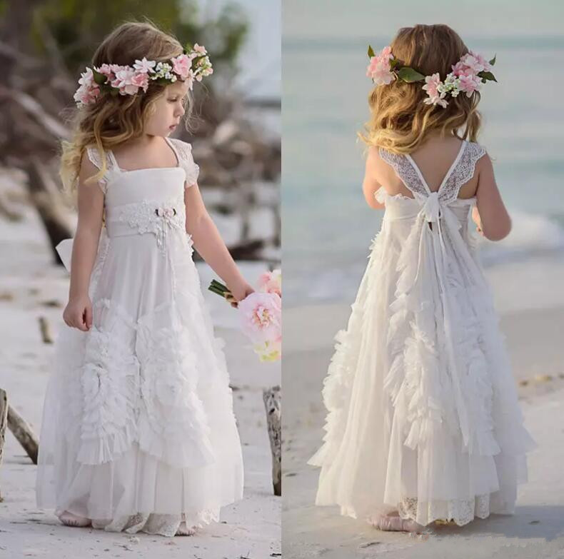 2019 White Flower Girl Dresses Special Occasion For Weddings Ruffled Kids Pageant Gowns Flowers Lace Party Communion Dress white casual round neck ruffled dress