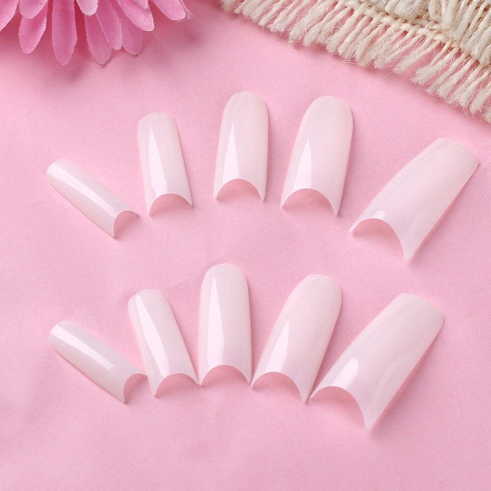 Free shipping,5packs french acrylic nails white 10sizes false nail ...