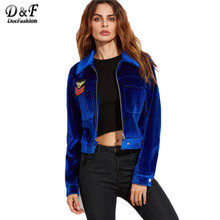 Dotfashion Womens Outerwear Jackets Women Jackets 2016 Autumn Winter Blue Zip Up With Embroidered Patch Velvet Jacket
