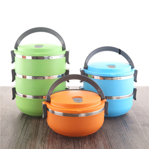 Round stainless steel Lunch Box kids Adult tiffin bento box for sandwich snack food container dinner meal prep Kitchen tableware
