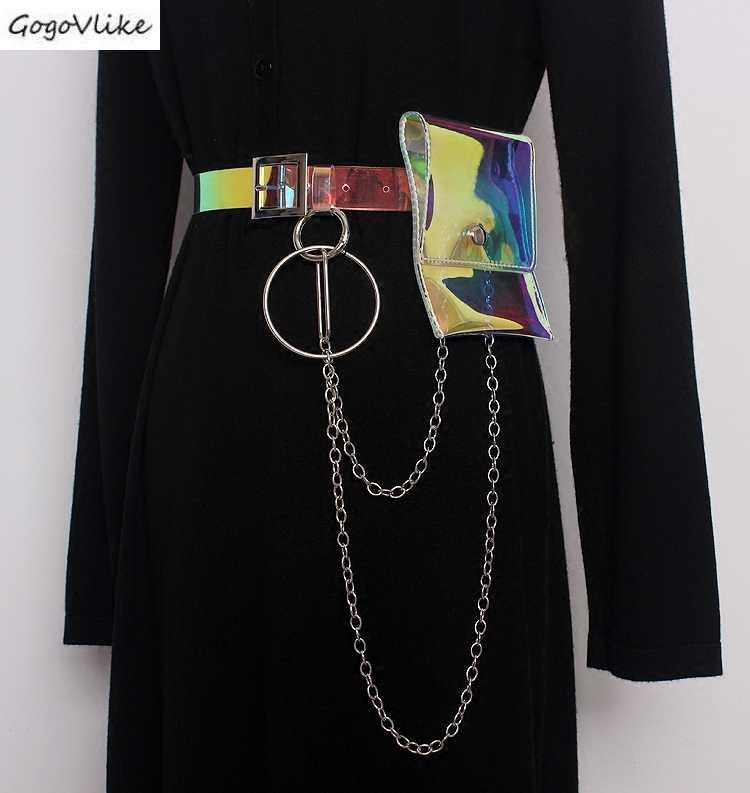 انظر الفكر PVC مشبك Cummerbund حلقة معدنية سلاسل 2019 منظور النساء حزام خصر قميص اللباس الاكسسوارات واسعة الخصر حقيبة SA083S50