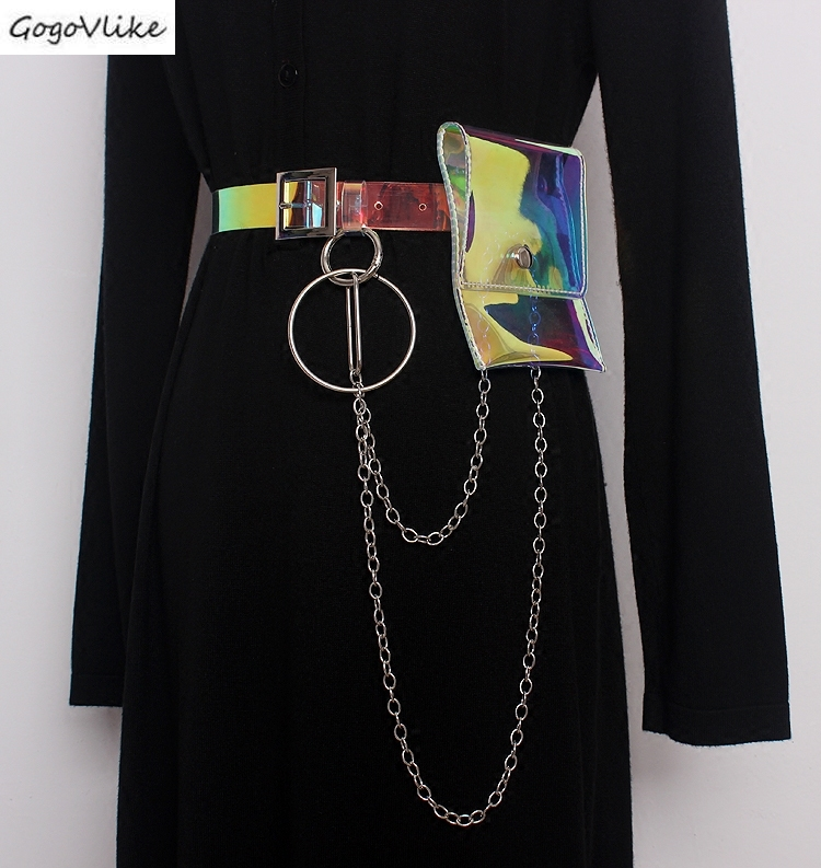 See Throught PVC Cummerbund Metal Ring Chains 2019  Perspective Women Waist Belt Shirt Dress Accessories Wide Waist Bag SA083S50