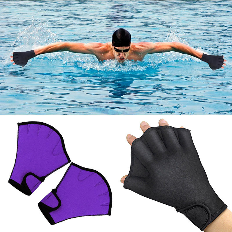 1 Pair Swimming Gloves Aquatic Fitness Water Resistance Aqua Fit Paddle Training Fingerless Gloves BHD2