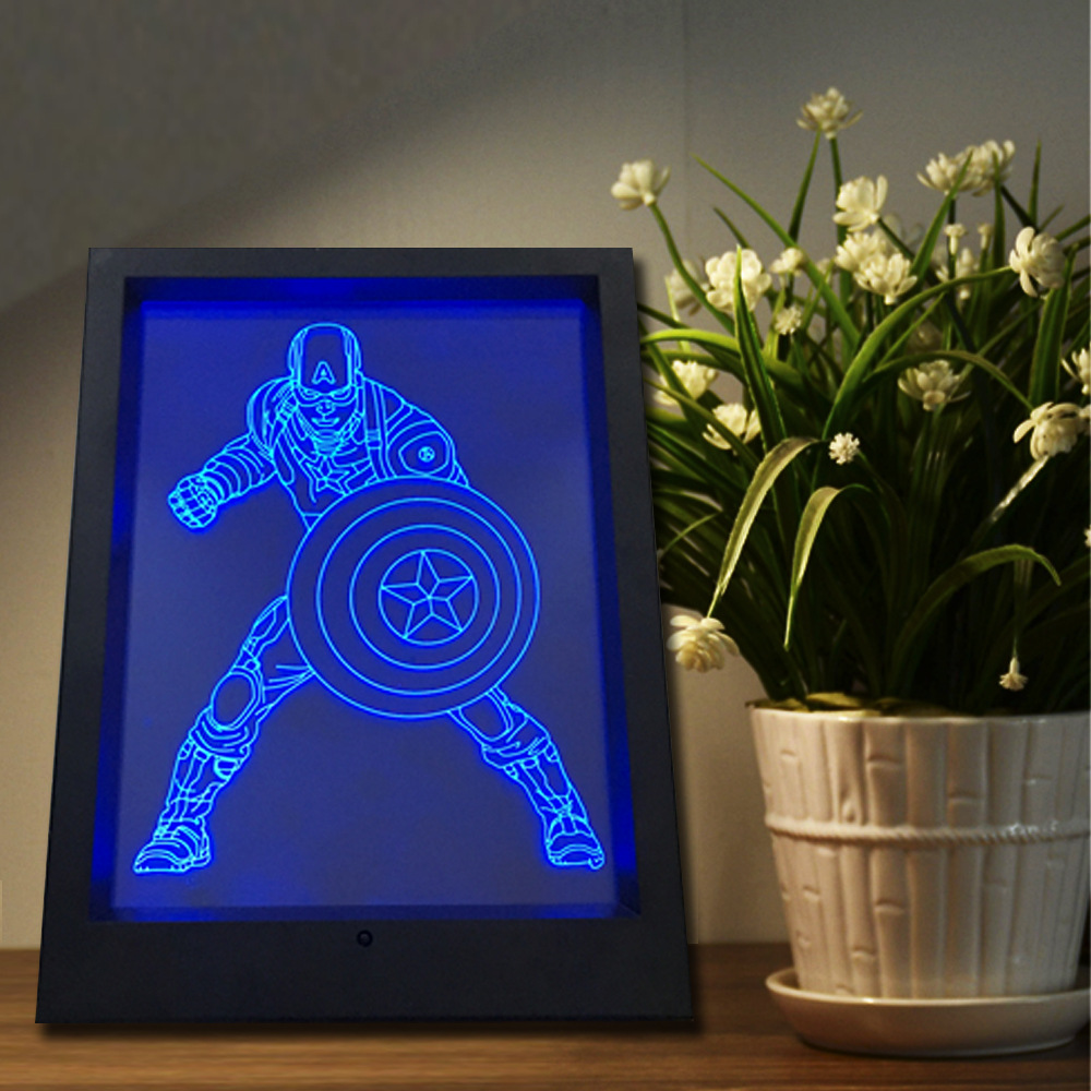 3D Photo Frame Lamp 7 Color Change Night Light Creative Touch Remote Control USB Decoration Lamp LED Gradient Illusion Light easter gift remote control led color change night light