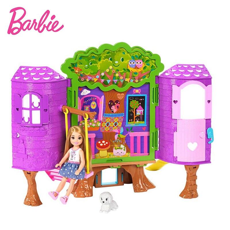 2018 Original Barbie Doll Toys Barbie Club Chelsea Kelly Tree House Gift Box DIY Barbie Boneca Set Model Dolls Gift For Girls cxzyking fashion barbie accessories sofa jewelry box furniture for barbie dolls house toys for baby girls best birthday gifts