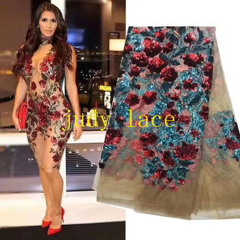 stock   5yards/bag 8. Color rose embroidery sequins stereo effect of French fabric for wedding banquet stage