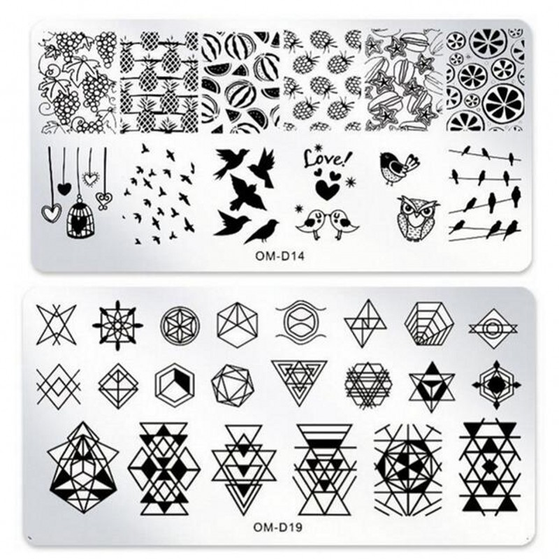 6*12cm Rectangle Nail Stamping Plates Fruit Bird Geometry Pattern Nail Art Stamp Stamping Template Image Plates Stencils OMD0125