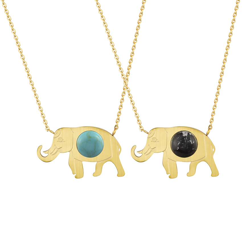 Charms Good Luck Elephant Pendant Necklace With Blue Stone Maxi Necklace Bohemian Ethnic Body Jewelry Chain Women Tattoo Choker