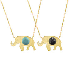 Charms Good Luck Elephant Pendant Necklace With Blue Stone Maxi Necklace Bohemian Ethnic Body Jewelry Chain Women Tattoo Choker(China)
