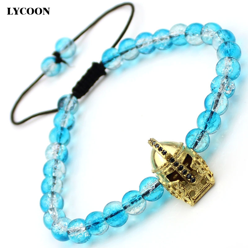 Round blue glass beads big ancient warrior helmet prong setting black AAA Cubic Zirconia strand women bracelets size adjustable