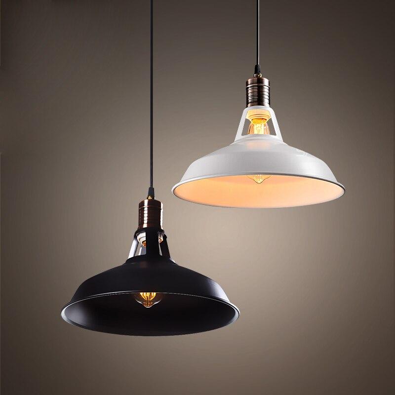 цена на Simple retro loft pendant lamp black color white color dinning room coffee bar lamp 110v 220v  E27 free shipping
