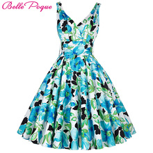 Belle Poque Women Big Swing Summer Dress 2017 Casual Retro Vintage 50s 60s Floral Print Dresses Plus Size Elegant Tunic Vestidos