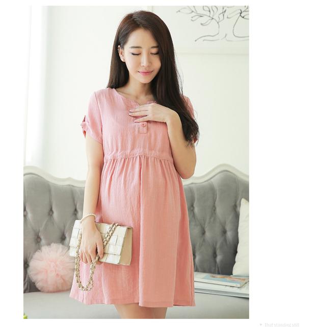 Coreano Moda Dots Linho V pescoço Vestidos de Maternidade/Vestido de Outono/Verão Roupas Soltas para As Mulheres Grávidas, A Gravidez roupas, M-XL