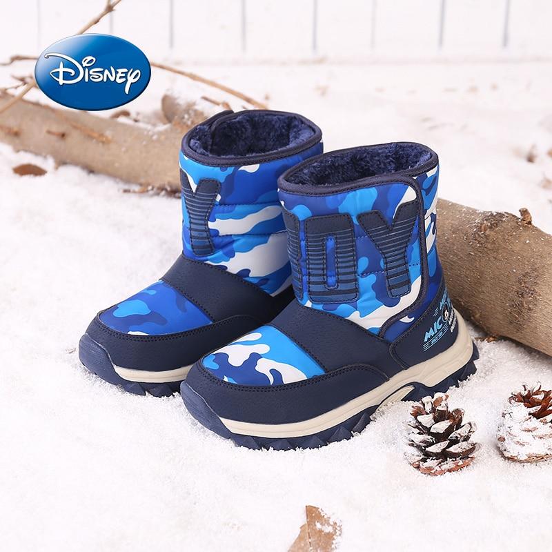 Disney chaussures enfants garçons chaussures hiver confortable plus velours enfants bottes de neige décontracté bottes imperméables taille 31-39