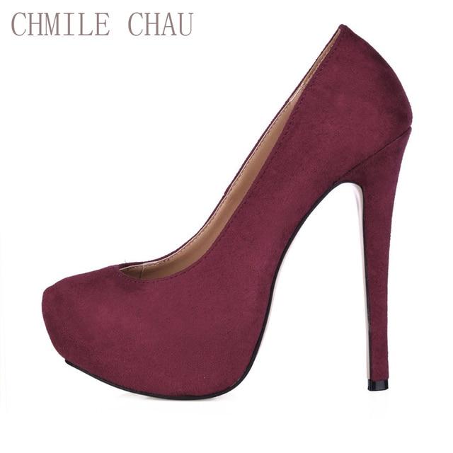 a9420dee6a0 CHMILE CHAU Burgundy Suede Sexy Dress Party Shoe Women Round Toe Stiletto  High Heel Platform Ladies Pumps Zapatos Mujer 3463B-a5