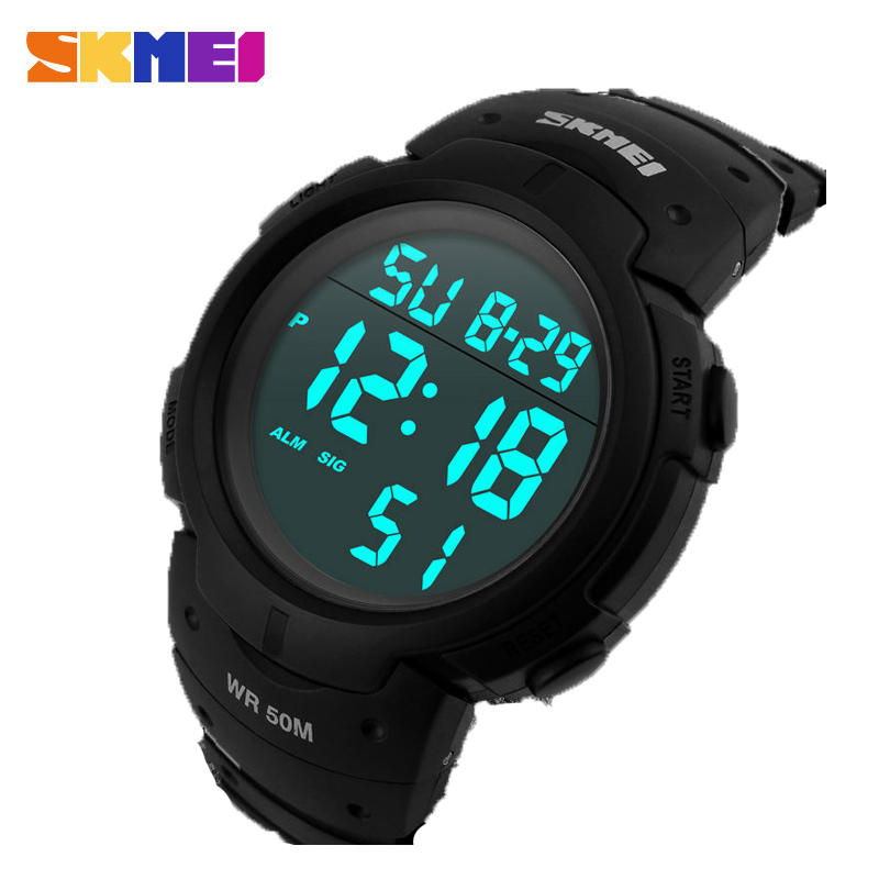 SKMEI Digital Watch Pu-Strap 1068 Waterproof Reloj Fashion Men 5bar Sport Calendar Big-Dial