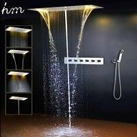 Ванная комната набор для душа аксессуары кран панель кран горячей светодио дный и холодной воды смеситель светодиодный потолочный душевая