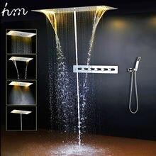 Zestaw prysznicowy łazienkowy akcesoria kran Panel dotknij ciepła i zimna woda mikser LED sufitowa głowica prysznicowa opady deszczu prysznic wodospad hm