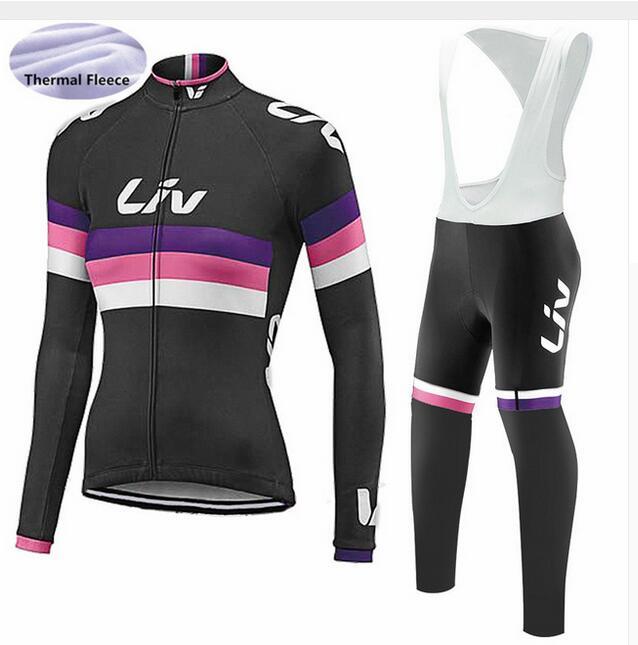 Liv maillot de cyclisme 2018 pro équipe vélo hiver thermique polaire à manches longues ensemble ropa ciclismo vélo triathlon vêtements de cyclisme
