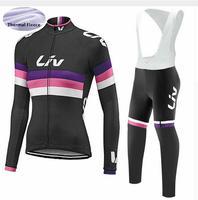 Liv 사이클링 저지 2018 프로 팀 자전거 겨울 열 양털 긴 소매 세트 ropa ciclismo 자전거 트라이 애슬론 사이클링 의류