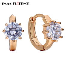 AAA Cubic Zircon Brand Luxury Earrings Plated New Rose Gold Jewelry Small CZ Women Hoop Earrings  for Wedding/Engagement/Party