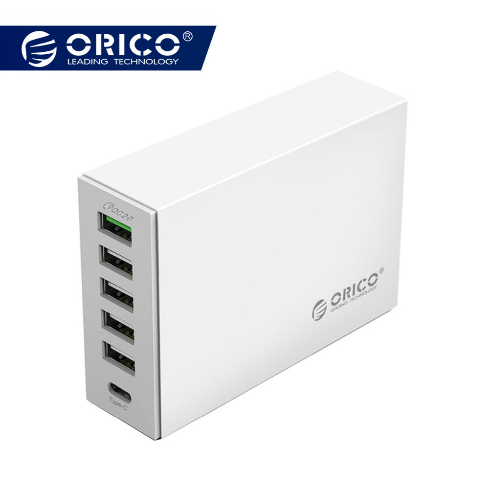 ORICO 6-ports USB Type-C QC2.0 Quick Charger 5V2.4A 9V2A 12V1.5A Type-C 3.1A Mobile