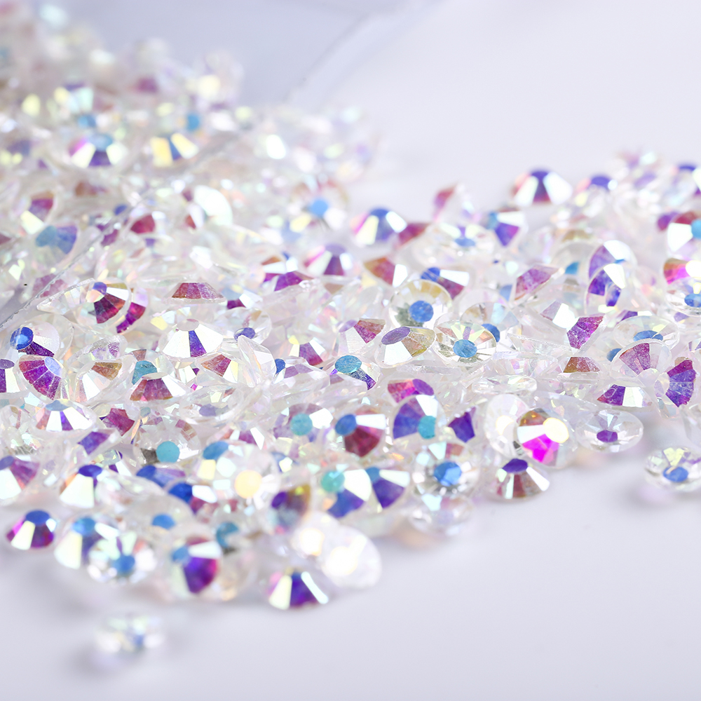 SS3 SS8 Nude Crystal AB Rhinestones Back Flat Round Nail Art Decorations  And Stones Non Hotfix Rhinestones Crystals for Glass-in Rhinestones    Decorations ... 205647e4cac5