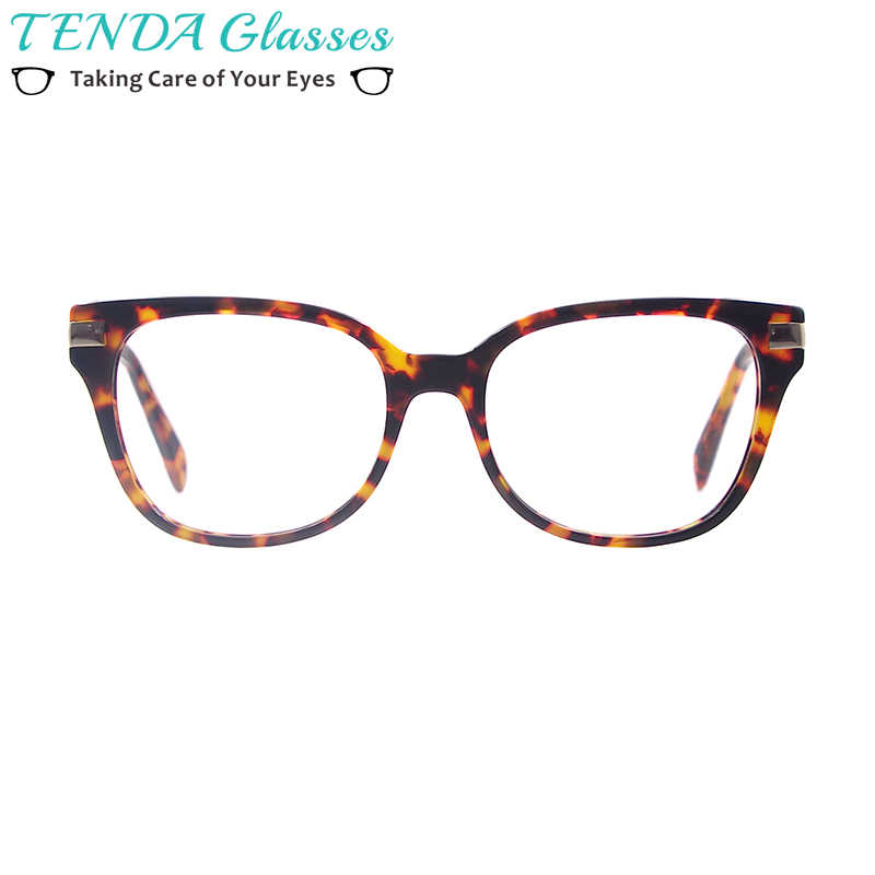 6ad2bf1e674 Women Acetate Square Prescription Spectacle Frames Full Rim Fashion Glasses  With Spring Hinge For Multifocal Myopia